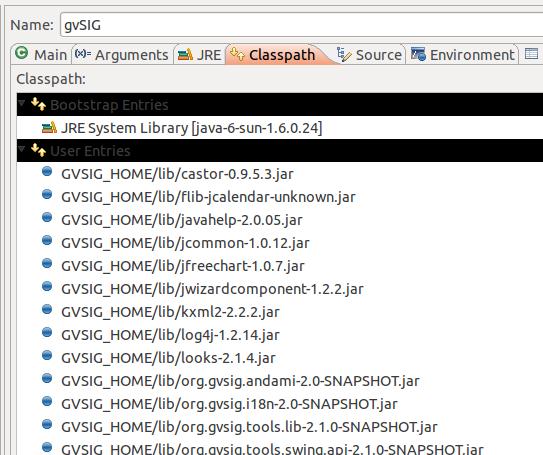 Initial gvSIG launcher classpath configuration