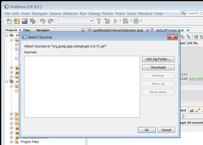 Compiling and debugging an example plugin for gvSIG 2 1 0 from an